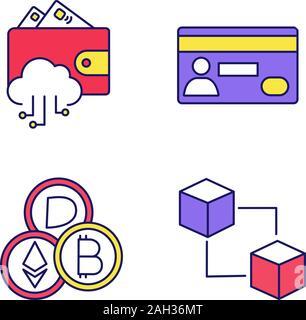 E-Payment farbige Symbole gesetzt. E-Wallet, Kreditkarte, cryptocurrency, blockchain. Isolierte Vektorgrafiken - Stockfoto
