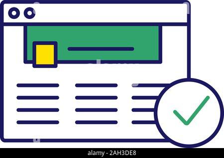 Genehmigte website Farbe Symbol. Web Seite. Erfolgreiche Anmeldung. Web Seite. Erfolgreiche Anmeldung. Genehmigung. Website mit Häkchen. Web browser Überprüfung - Stockfoto