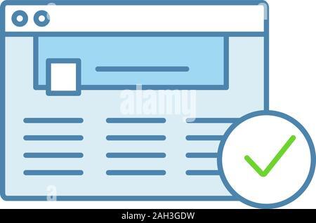 Genehmigte website Farbe Symbol. Web Seite. Erfolgreiche Anmeldung. Genehmigung. Website mit Häkchen. Web browser Überprüfung. Isolierte Vektor illustrati - Stockfoto