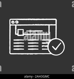 Genehmigte website Chalk Symbol. Web Seite. Erfolgreiche Anmeldung. Genehmigung. Website mit Häkchen. Web browser Überprüfung. Isolierte Vektor des Schwarzen Brettes - Stockfoto