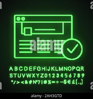 Genehmigte website Neon Licht Symbol. Web Seite. Erfolgreiche Anmeldung. Leuchtende Zeichen mit Alphabet, Zahlen. Genehmigung. Website mit Häkchen. Web durchsuchen - Stockfoto