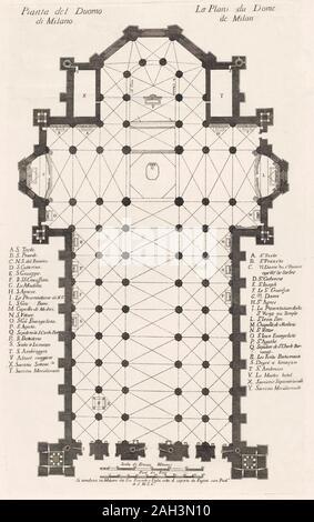 Grundriss des Duomo, oder die Kathedrale, Mailand, Italien. Nach einem 18. Jahrhundert Arbeiten durch einen anonymen Grafiker. - Stockfoto