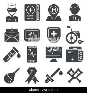 Medizinische flachbild Symbole auf weißem Hintergrund - Stockfoto