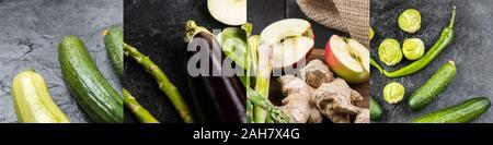 Collage aus Grün frisches Gemüse auf dunklem Hintergrund - Stockfoto