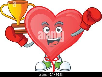 Super cooles Boxing Sieger rote Liebe Ballon in Mascot Cartoon Stil - Stockfoto