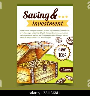 Ersparnis und Investitionen Plakat Vektor - Stockfoto