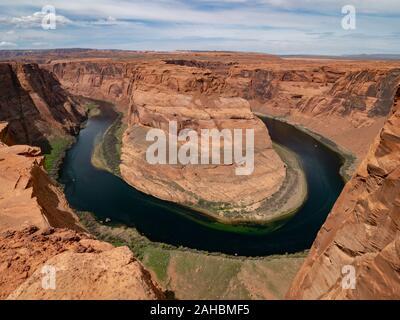 Panoramablick über Horseshoe Bend in Colorado River, Page, Arizona, USA - Stockfoto