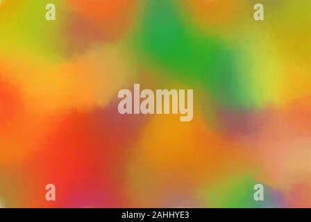 Digitale Kunst Aquarell in lebendigen und lebhaften Farben Rot Grün Gelb- und Orangetönen. - Stockfoto