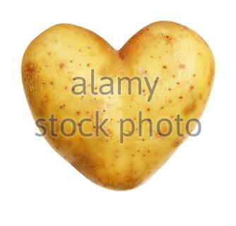 Kartoffel isoliert auf weißem Hintergrund, heart-shaped - Stockfoto