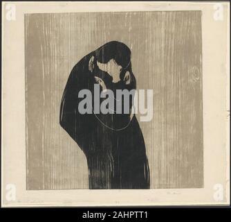 Edvard Munch. Der Kuss IV. 1902. Norwegen. Holzschnitt von zwei Blöcke (ein gesägt in zwei Sektionen) in grau-braune und schwarze Tinte auf Creme Japanisches Papier - Stockfoto