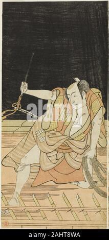 Katsukawa Shunko I. der Schauspieler Ichikawa Danjuro V als Issun Tokubei in Akt 8 Der Play Natsu Matsuri Naniwa Kagami (Spiegel von Osaka im Sommer Festival), an der Morita Theater aus dem 17. Tag des siebten Monats, 1779 durchgeführt. 1774 - 1784. Japan. Farbe holzschnitt; links Blatt hosoban Diptychon (rechts 1942.113) - Stockfoto