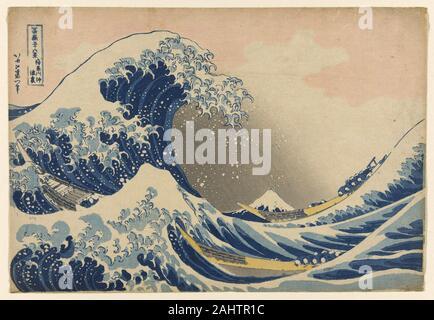 Katsushika Hokusai. Unter der Welle von Kanagawa (Kanagawa oki Nami ura), die auch als die große Welle, aus der Serie 36 Ansichten des Berges Fuji (Fugaku sanjurokkei) bekannt. 1825 - 1838. Japan. Farbe holzschnitt; Oban Katsushika Hokusai ist viel gefeierten Serie, 36 Blick auf Mount Fuji (Fugaku sanjûrokkei), war im Jahre 1830, wenn der Künstler 70 Jahre alt war, begonnen. Diese Tour-de-Force Series die Popularität der Landschaft Drucke, die bis heute andauert. Bemerkenswert ist vielleicht vor allem über die Reihe Hokusai's ist reichhaltig, Nutzung der neu erschwingliche Berlin blaues Pigment, in vielen Empfohlene - Stockfoto