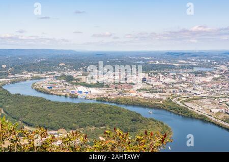 Skyline von Chattanooga, Tennessee Tennessee River entlang der von Point Park - Stockfoto