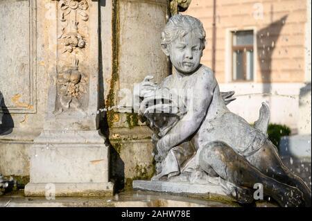"""Brunnen mit Statuen von Kindern in """"Hviezdoslavovo namestie' (hviezdoslav's Square) in Bratislava, Slowakei. - Stockfoto"""