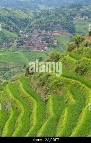Ein Blick auf ein Dorf auf der Longsheng Reisterrassen, Guilin, China - Stockfoto