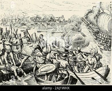 Geschichte der Pilger und Puritaner, ihre Vorfahren und Nachkommen; Grundlage der Amerikanisierung. VESPUCIUS in der Schlacht. - Stockfoto