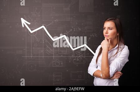 Junge Person, die mit zunehmender graph Konzept - Stockfoto