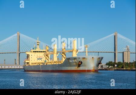 Nina Marie Schiff dampft auf den Savannah River, GA, USA - Stockfoto