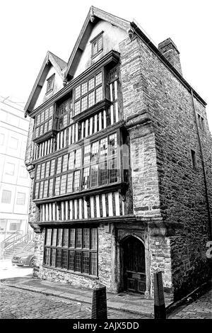 Veranschaulichung der Merchants House auf der Plymouth historische Barbican; Schwarz/Weiß-Bild - Stockfoto