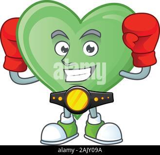 Happy Face Boxing grün Liebe Cartoon Character Design - Stockfoto