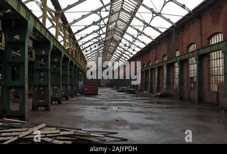 Horwich Locomotive Works Errichtung shop Teil abgerissen auf dem 4.1.20 als Teil der Regeneration der Website. Big demolieren Job. - Stockfoto