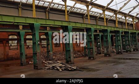 Horwich Locomotive Works Errichtung shop Teil abgerissen auf dem 4.1.20 als Teil der Regeneration der Website. Big Abbrucharbeiten. - Stockfoto