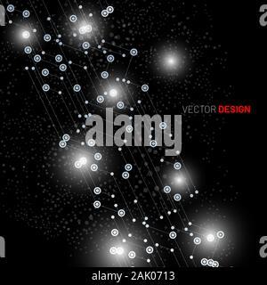 Abstrakte Digitale Technologie schwarzen Hintergrund. Linien und Punkte verbunden. vektor design Illustration. - Stockfoto