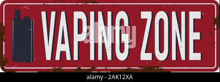 Vaping Zone vintage rostiges Metall Zeichen auf weißem Hintergrund, Vector Illustration - Stockfoto