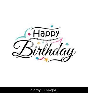 Happy birthday Typografie Schrift Design. Poster, Grußkarten und Einladungen - Stockfoto