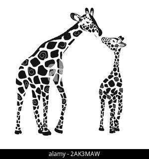 Zwei süße Giraffen auf einem weißen Hintergrund. Baby Giraffe und erwachsene Giraffe. Vector Illustration - Stockfoto