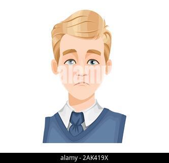 Gesichtsausdruck von stattlicher Mann mit blonden Haaren, traurig. Männliche Emotion. Avatar. Cartoon Charakter. Vector Illustration auf weißem Hintergrund. - Stockfoto