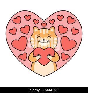 Cat Umarmungen ein Herz. Grußkarten zum Valentinstag, Geburtstag, Muttertag. Cartoon Tiere Charakter Vector Illustration auf weißem Hintergrund. - Stockfoto