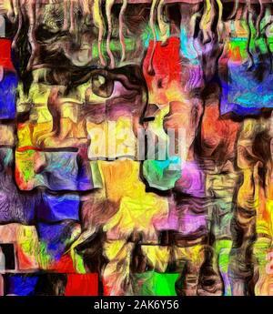Moderne Kunst. Flecken von Lack und Mystic Gesicht