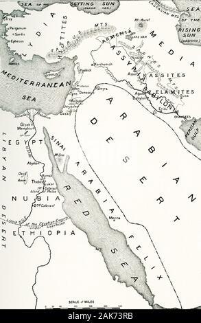 """Diese Karte, die den Bereich der Welt im Nahen Osten als """"Wiege der Zivilisation"""" Termine bekannt in den frühen 1900er Jahren. Auf dieser Karte sind enthalten: Arabische Wüste, Ägypten, Nubien, Äthiopien, Libysche Wüste, Rote Meer, den Persischen Golf, Babylonien, Assyrien, Armenien, Medien, Lydia, Hethiter, Mittelmeer, Meer der untergehenden Sonne (dem heutigen Schwarzen Meer), das Meer der aufgehenden Sonne (heute am Kaspischen Meer). - Stockfoto"""