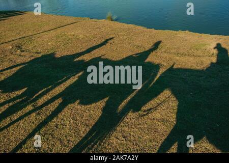 Silhouette Schatten von Menschen auf dem Pferd auf dem Rasen von einer Ranch in der Nähe von Cambara do Sul. Eine Stadt mit natürlichen Sehenswürdigkeiten im Süden Brasiliens. - Stockfoto