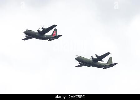 RAF Hercules in der Anzeige auf der RAF 100-jähriges Jubiläum, London fliegen, Großbritannien - Stockfoto