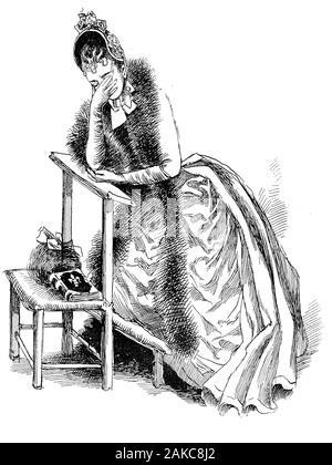 Französisch Portrait und Karikatur: Junge broken-hearted Frau schick gekleidet mit Fell und modischen Hut Schreie betet auf einem Kneeler in der Kirche allein - Stockfoto