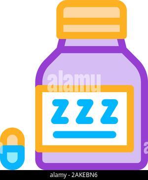 Flasche Schlaflosigkeit Pillen Symbol Überblick Abbildung - Stockfoto
