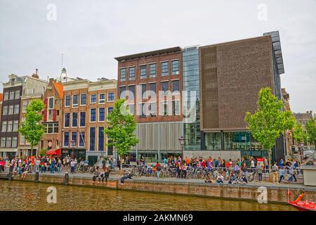 Anne Frank Haus in Amsterdam Prinsengracht Straße - Stockfoto