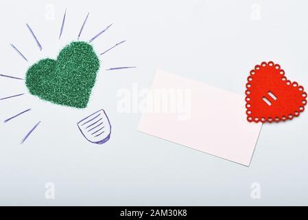 Romantische Grußkarten Valentinstag Herz Hintergrund. Liebe und Romantik. Valentines Day Party. Und nur. Rahmen aus Herzen. Minimale Valentines Tag flatlay gestaltet. kopieren. - Stockfoto
