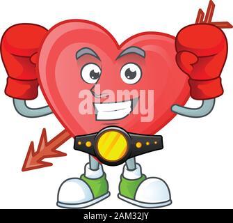 Happy Face Boxing Pfeil liebe Cartoon Character Design - Stockfoto