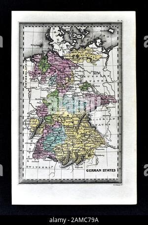 1834 Carey Karte von Deutschland Deutsches Reich Berlin München Frankfurt - Stockfoto