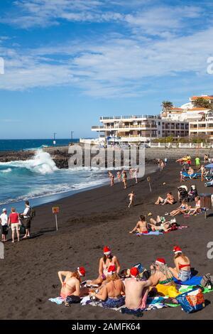 Da la Arena Strand Playa, Puerto de Santiago, Teneriffa, Kanarische Inseln, Spanien - Stockfoto