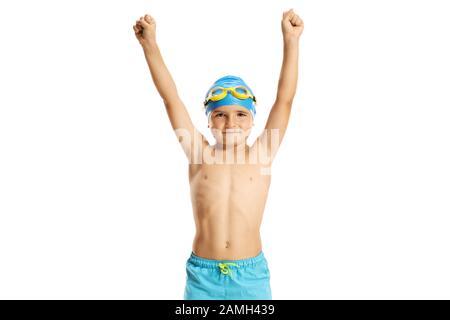 Kinderschwimmerin hält seine Hände isoliert auf weißem Hintergrund - Stockfoto