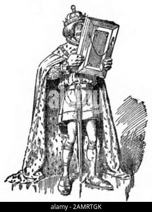 Dieses Bild stammt aus Bill Nye's Comic History of England. Die angezeigten Zahlen sind die Seitenzahlen des Buchs. Der angezeigte Text ist die Beschriftung unter dem Bild. Folgen Sie dem Bild zum Link, der zum vollständigen Buch führt; 16. März 2014, 16:43:53; https://archive/details/billnyescomichis00nyebrich; Edgar Wilson Bill Nye;