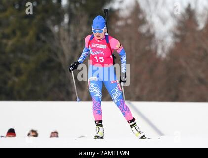 Les Rousses, Frankreich. Januar 2020. Alena Mokhova aus Russland tritt beim 6-km-Biathlon-Sprint der Frauen bei den 3. Olympischen Winter-Olympischen Spielen im Les Tuffes Nordic Centre in Les Rousses, Frankreich, am 14. Januar 2020 an. Kredit: Yang Shiyao/Xinhua/Alamy Live News - Stockfoto