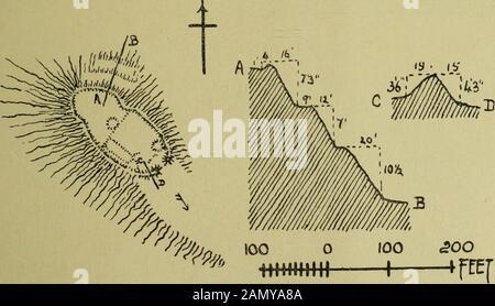 Sechster Bericht und Inventar der Denkmäler und Bauwerke in der Grafschaft Berwick . (Oo Zoo n ffCCJ Abb. 50.-Fort, Coldingham Loch (Nr. 88). Der Kreis mit einem Innendurchmesser von 23 Fuß, der von einer etwa 5 Fuß breiten Bank umgeben ist, und im Süden davon, an der Ostseite angrenzend, ist ein weiteres ähnliches Fundament. Siehe Antiquarien, xxix. S. 173 (Plan). O.S.M., Ber., v. NE. Und VI. NW. Besuch am 27. August 1908. 89. Fort, tun.-Dieses Gehäuse (Abb. 51) befindet sich etwa J Milesouth der Signalstation am St Abbs Head, auf einer Höhe von ca. 250 Fuß über dem Meeresspiegel und nimmt das Nordwestende eines RO ein - Stockfoto
