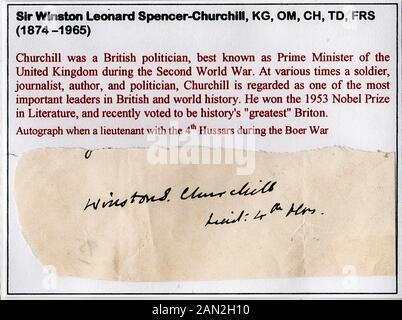 Signatur von Sir Winston Leonard Spencer-Churchill (1874-1965), britischer Staatsmann, Offizier und Schriftsteller - Stockfoto