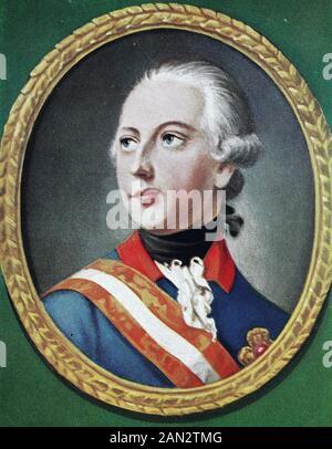 Joseph II., Joseph Benedikt Anton Michael Adam, 13. März 1741 - 20. Februar 1790, war ab dem Jahr 1765 heiliger römischer Kaiser und von der Zeit von 1780 bis zu seinem Tod Landesherr der Habsburger. Er war der älteste Sohn der Kaiserin Maria Theresia und ihres Mannes, Kaiser Franziskus I., und der Bruder von Marie Anteinette, / Joseph II., Joseph Benedikt Anton Michael Adam, 13. März 1741 - 20. Februar 1730, war ab dem Jahr 1762römischer Kaiser und von 1780-1 Tod Herrscher über die Habsburger. Er war der älteste Sohn von Kaiserin Maria Theresia und Ihrem Ehemann, Kaiser Franz I., und der Bruder von Marie Antoinette, Histori - Stockfoto