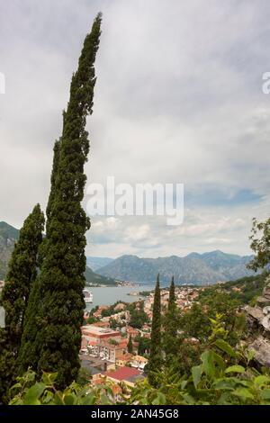 Blick auf die Bucht von Kotor vom St. John's Hill oberhalb von Kotor, Montenegro - Stockfoto